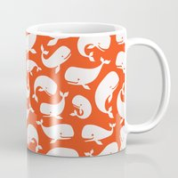 moby dick Mugs featuring Moby Dick - Red by Drivis
