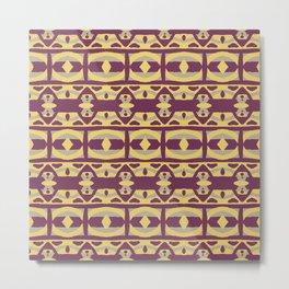 Samantha - Symmetrical Digital Art in Purple, Yellow and Grey Metal Print