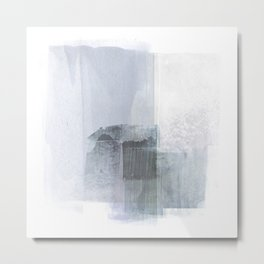 Blue Grey Square Minimalist Abstract Painting Metal Print