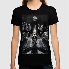 Poster with a biker on a motorcycle in the form of an angel looking into the distance of the urban v T-shirt