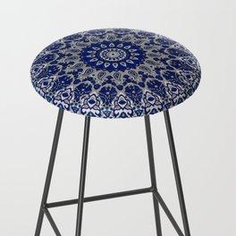 N33 - Blue Andalusian Bohemian Moroccan Mandala Artwork. Bar Stool