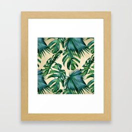 Tropical Island Republic Green on Linen Framed Art Print