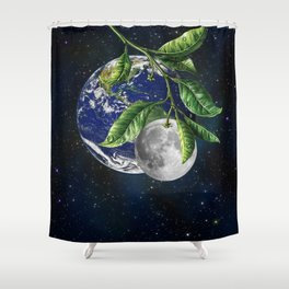 Full moon and Earth Shower Curtain