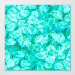 Aqua Blue Turquoise Water Pool Flower Pattern, Delicate Floral Blossom Reflection Design Canvas Print