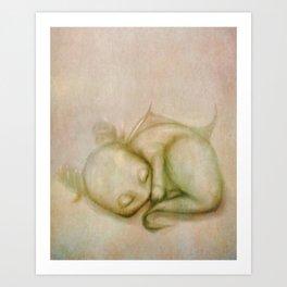 Sleeping Baby Dragon Illustration Art Print