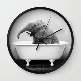 Baby Elephant Taking A Bath Wall Clock