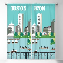 Boston, Massachusetts - Skyline Illustration by Loose Petals Blackout Curtain