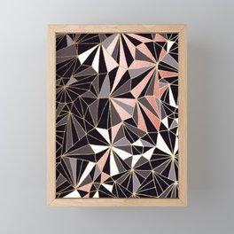 Stylish Art Deco Geometric Pattern - Black, Coral, Gold #abstract #pattern Framed Mini Art Print
