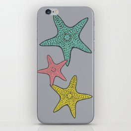 Starfish gray background iPhone Skin