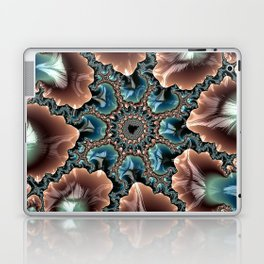 Elegant Scallops Feather Abstract Fractal Brown Aqua Turquoise Cream Shiny Stylish Digital Graphic Laptop & iPad Skin
