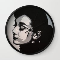 audrey Wall Clocks featuring Audrey by AUSKMe2Paint