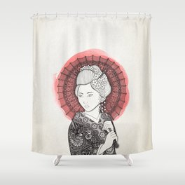 Japanese flag and Geisha Shower Curtain