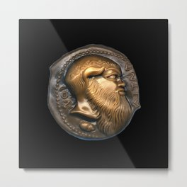 Greek Coin Replica - Satyr Metal Print
