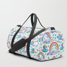 Spring Showers and Rainbow Birds on White Duffle Bag