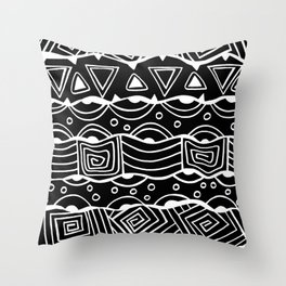 Wavy Tribal Lines with Shapes - White on Black - Doodle Drawing Throw Pillow