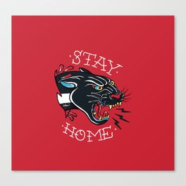 Stay Home Panther Tattoo Canvas Print