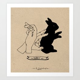Hand-shadows Mr rabbit Art Print