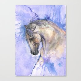 Horse on purple background Canvas Print