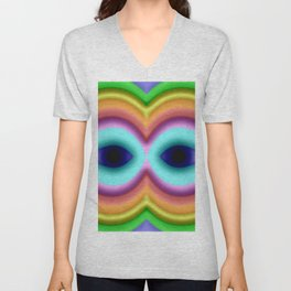 Softly rainbow mask Unisex V-Neck