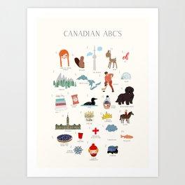 Canadian ABCs Art Print