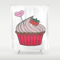cupcake Shower Curtains featuring Cupcake by Afriquita