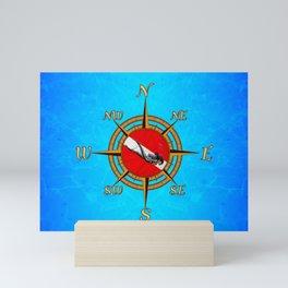 Woman Diver And Compass Mini Art Print