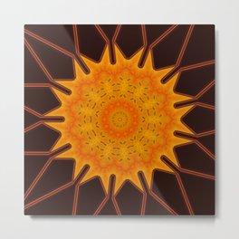 New Media Art Marigold on Mocha Kaleidoscope  Metal Print