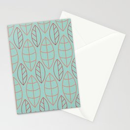 Art Deco Turquoise Background Red Copper Leaves Stationery Cards