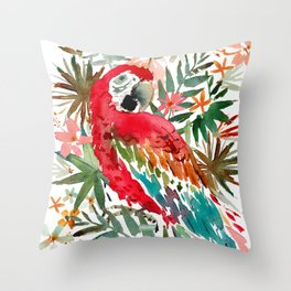 CHARLIE THE SCARLET MACAW Throw Pillow
