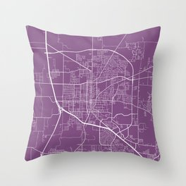 Denton Map, USA - Purple Throw Pillow