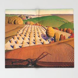 Classical Masterpiece 'Fall Plowing' by Grant Wood Throw Blanket