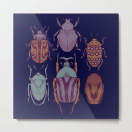 Indigo Insects Metal Print