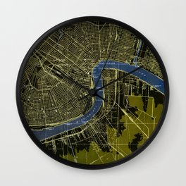 06-New Orleans Louisiana 1932, old colorful map Wall Clock