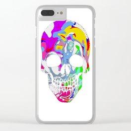 Tye Dye Skull Clear iPhone Case