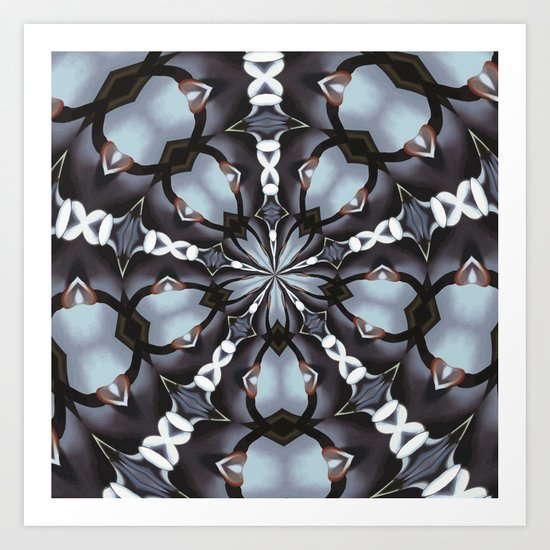 Shades Of Blue Kaleidoscope Art Print
