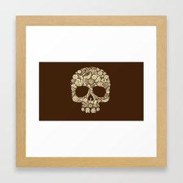 Skull - Flowers - Brown Framed Art Print