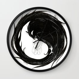 Yin Yang Crow Wall Clock