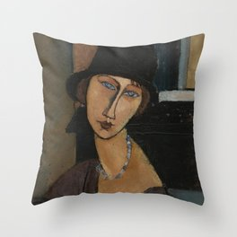 Modigliani - Jeanne Hebuterne With Hat And Necklace Throw Pillow