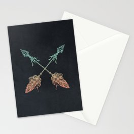 Arrows Turquoise Coral on Navy Stationery Cards