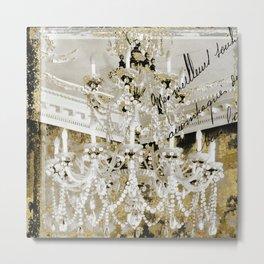 Crystal Pearls Chandelier Paris Metal Print