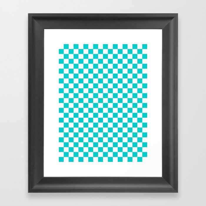 White and Cyan Checkerboard Gerahmter Kunstdruck