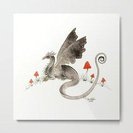 Dragon with Mushrooms Metal Print