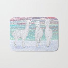 alpacas in the snow Bath Mat