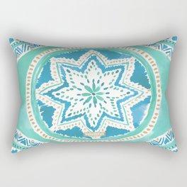 Aqua & Gold MIGHTY MEDALLION Mandala Rectangular Pillow