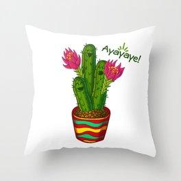 Ayayaye Cactus Flower Throw Pillow