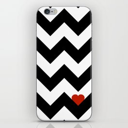 Heart & Chevron - Black/Classic Red iPhone Skin