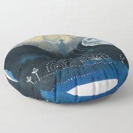 Moon Series #4 Watercolor + Ink Painting Floor Pillow