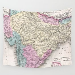 Vintage Map of India (1855) Wall Tapestry