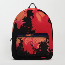 Red, Orange and Black Halloween Night; Fluid Abstract 5 Backpack