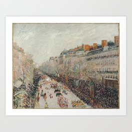 Mardi Gras on Monmartre Boulevard in Paris by Camille Pissarro Art Print